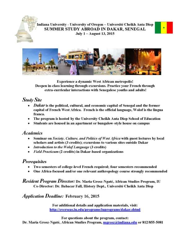 Dakar Summer Program 2015 announcement